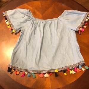 Speed Limit Chambray Tassel Off Shoulder Top Large
